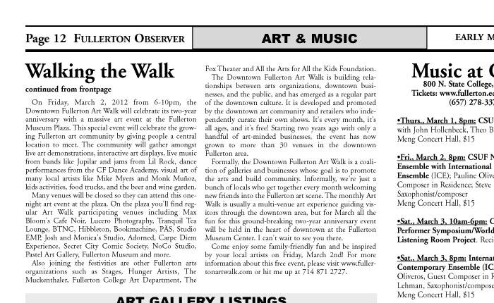 Fullerton Art Walk in the Observer… | Downtown Fullerton Art
